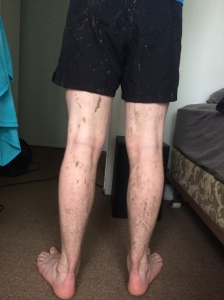 Matthew requested that I take a picture of the backs of his legs after our muddy run. He actually said it was for my blog. xD