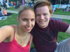 Matt and I went to Top of the Park, part of the Ann Arbor Summer Festival. We sat on a blanket, listened to the live music, and read books. :)