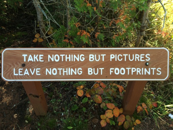 Take nothing but pictures; leave nothing but footprints.